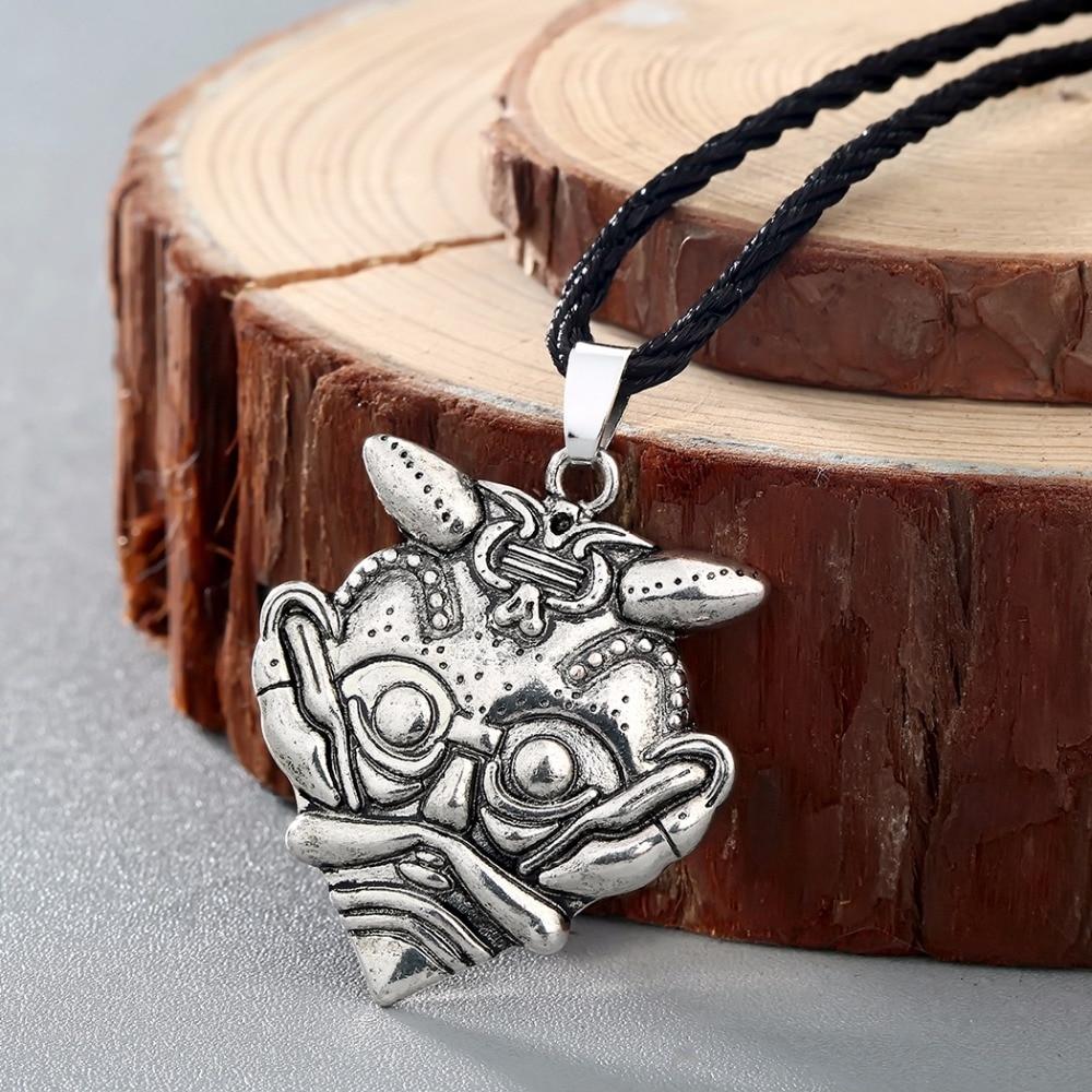 CHENGXUN Norse Scandinavian Viking Mask of Loki Amulet Necklace Replica Borre Mideval Asatru Pagan Jewelry