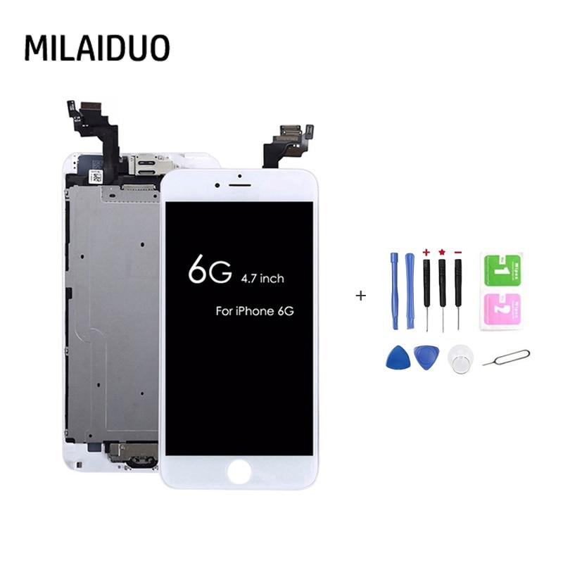 Pantalla LCD para iPhone 6 6G digitalizador de pantalla táctil + botón de inicio + cámara frontal + altavoz de oído reemplazo completo de montaje con herramientas