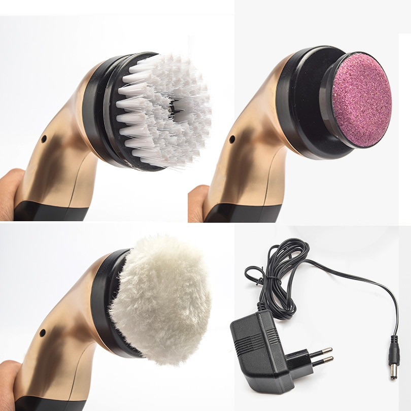 De zapatos eléctrico cepillo hogar pulidora portátil de mano Auto de cuero polaco cepillo 3 tipos cabezas de cepillo Cuidado De cuero suave