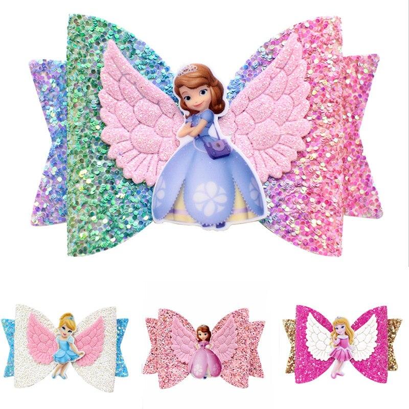 Princess Wing Hair Accessories for Girls Children Multi-layer Glitter Hair Bows Clips Handmade elsa anna Hairpins Kids Headdress