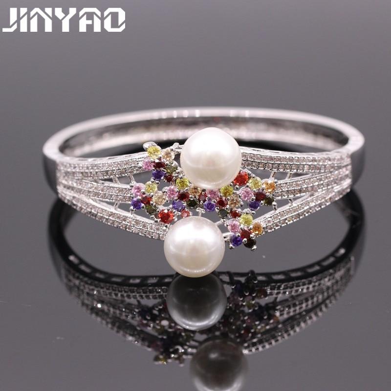 Joyería JINYAO, brazalete de cristal de circón de perla, pulseras de Color oro blanco, pulseras para mujeres, pulseras, joyas, tiejia 4-4-2
