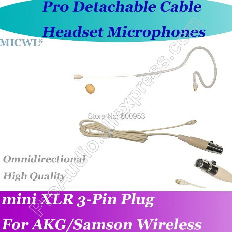 Micwl a380 único destacável earheadset gemeos microfone para akg samson microfone sem fio com fone de ouvido para akg sem fio