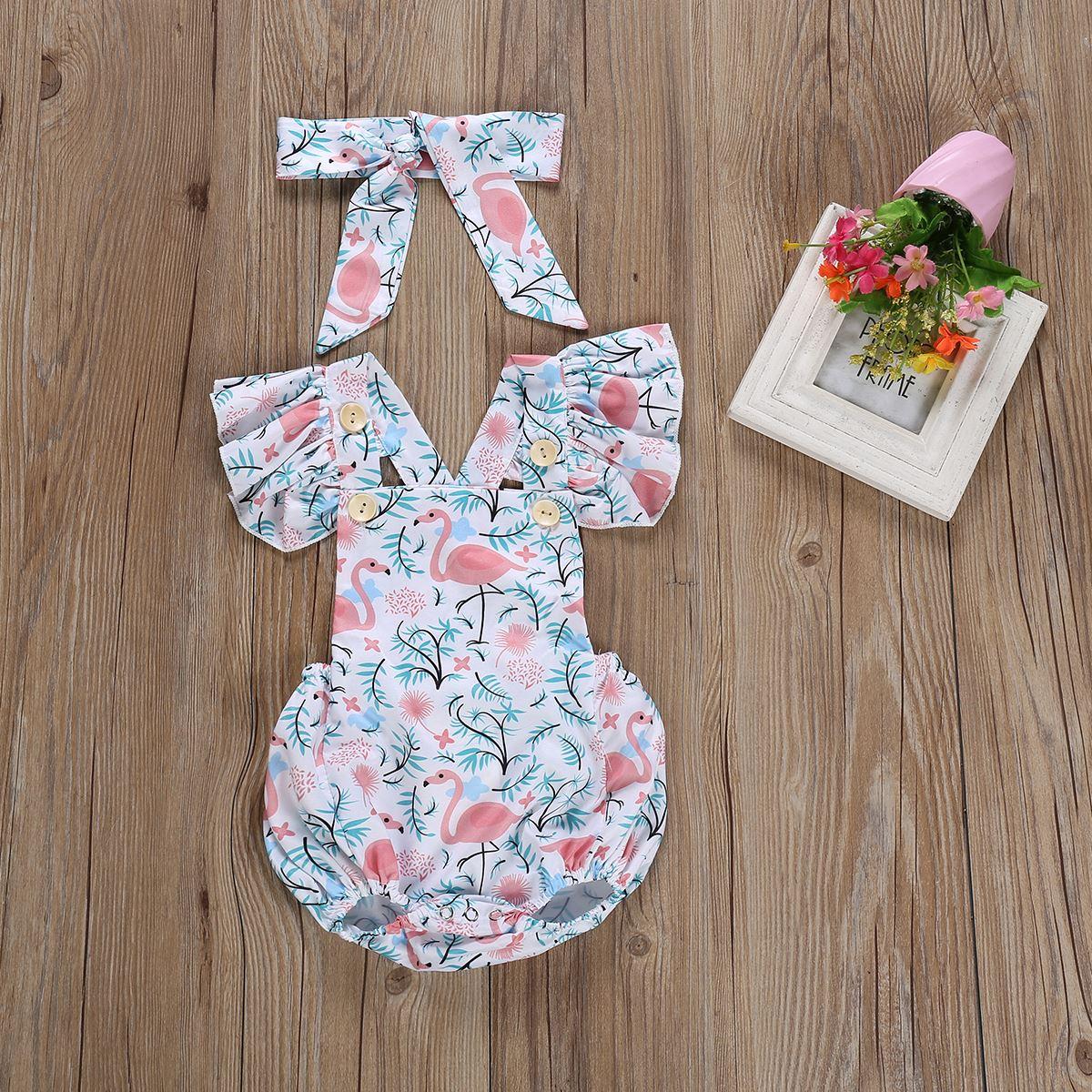 Summer New 2019 cute 2pcs/set Infant Baby Girl Floral Bird Print Outfits Clothes Set Romper + Headband 0-24M