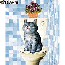 "DIAPAI Diamond Painting 5D DIY 100% Full Square/Round Drill ""Cat toilet vase"" Diamond Embroidery Cross Stitch 3D Decor A24647"