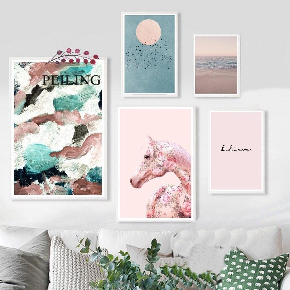 Póster Rosa nórdico ola pájaro sol caballo citas lienzo cuadros impresiones modernas arte de pared pinturas chicas decoración de la habitación