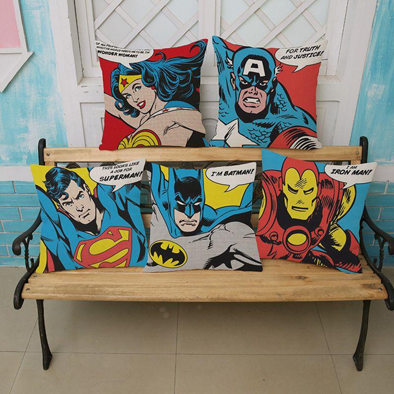 Cojín decorativo para el hogar de dibujos animados del Capitán América/Superman/Batman e Ironman, cojín decorativo para sofá de algodón y lino