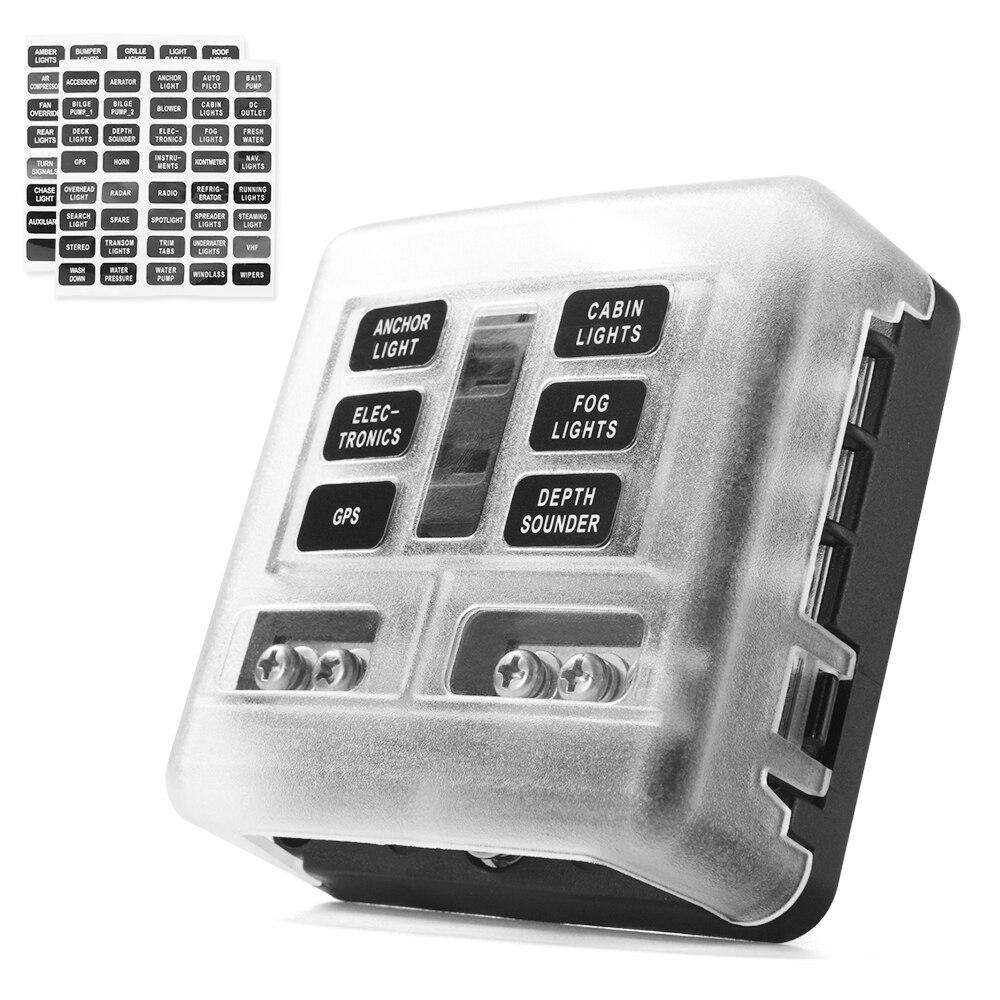 6-полосный блок предохранителей MICTUNING с 6 цепями, блок предохранителей со светодиодным индикатором, водонепроницаемая Защитная крышка для а...