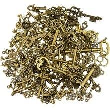 125Pcs Antique Bronze Vintage Skeleton Key Charms DIY Necklace Pendant for Handmade Jewelry Making Wedding Party Favor