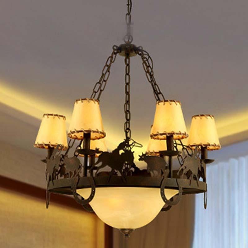 home lighting Pendant Ligh garden retro creative restaurants living room bedroom retro 6 heads iron glass lamps ZA99614