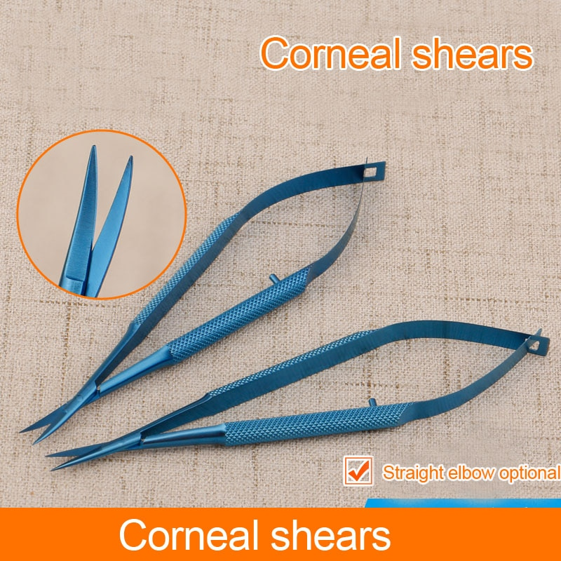 Stainless Steel Scissors Ophthalmic Keratectomy Open Eye Microscissors Straight Tips Titanium Surgery Tools 12cm