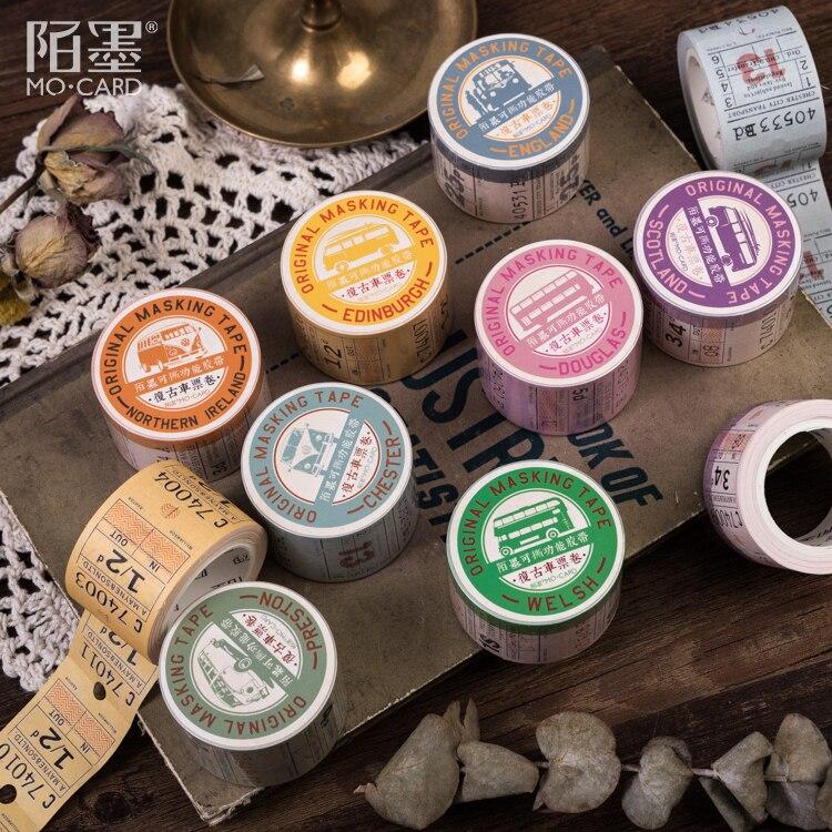 Cinta adhesiva Retro de oficina de la serie de tickets británicos, organizador decorativo de papel Kraft, cinta adhesiva Washi, papelería japonesa
