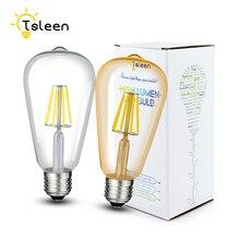 TSLEEN LED Filament lampe à intensité variable E26 220V 110V ST64 rétro Edison ampoule 16W lampara Led E27 or verre coquille Globe lampes