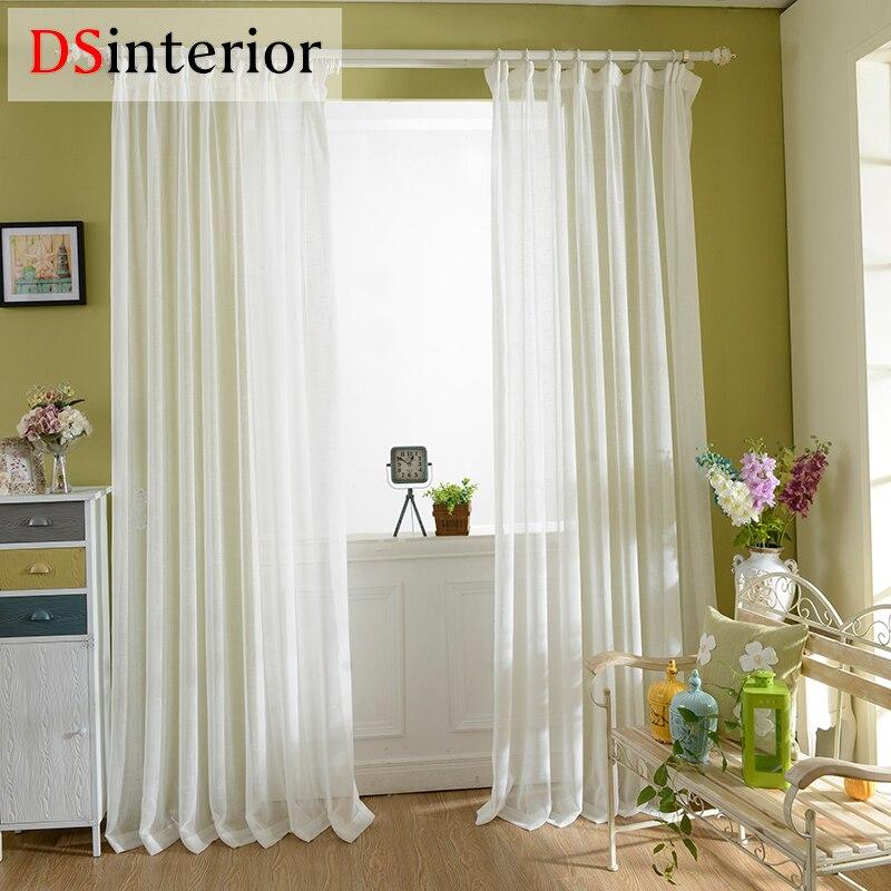 DSinterior acabado sólido Puro Blanco voile panel transparente para ventana