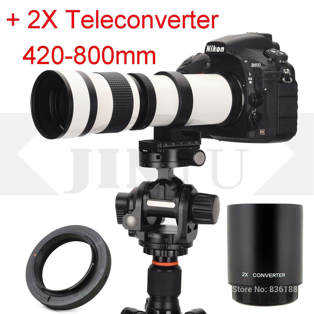 JINTU Branco 420-800mm F/8.3 Lente Telefoto + 2x lens 420-1600mm para Canon 1000D 1100D 1200D 1300D 2000D 4000D 350D 450D 550D Veio