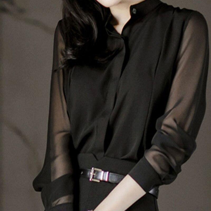2019 Spring Women Chiffon Blouses & Tops Feminina Blusas Long Sleeve Shirt Lady Sexy Black Tops Shirt
