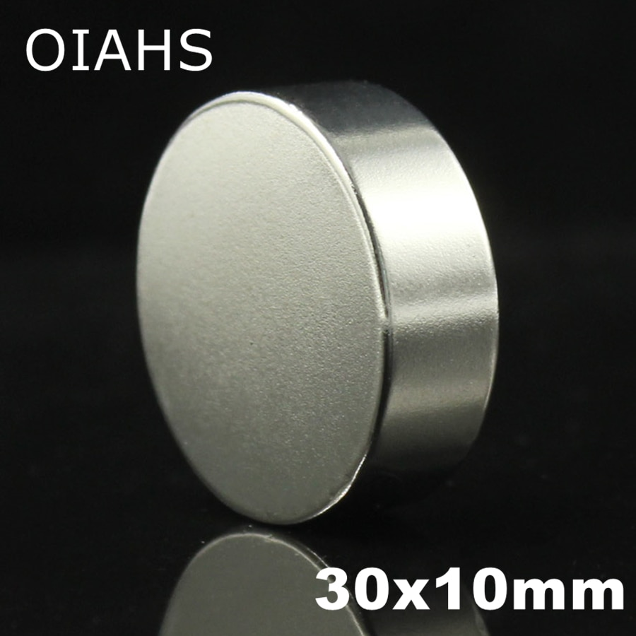 1 piezas 30x10mm súper poderoso fuerte a granel pequeña ronda de NdFeB imán de neodimio imanes de disco diámetro de 30mm x 20mm imán NdFeB de tierra rara de 10mm N35