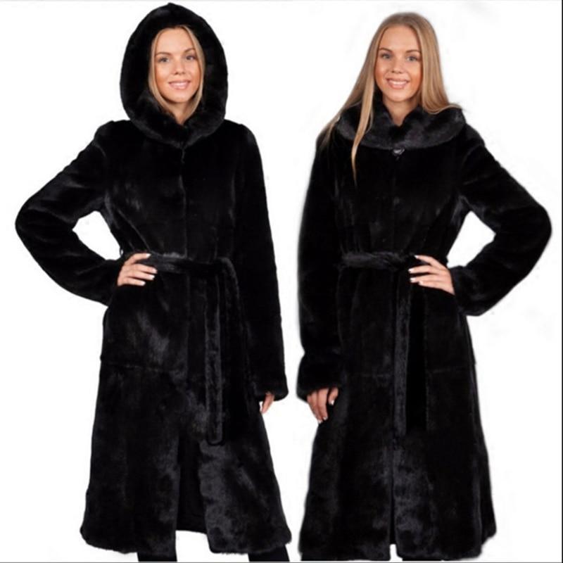 The new female imitation fur coat Haining fur mink hair lengthened with a hat mink coat female whole mink size  jacket