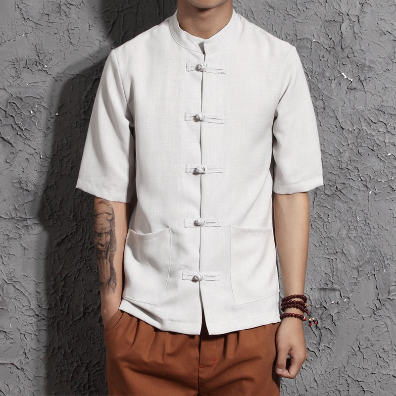 Men Cotton Linen Shirts Half Sleeve Kung Fu Shirt Tai Chi Suit Chinese Style Mandarin Collar Shirt Male Hombre Camisa TS-328