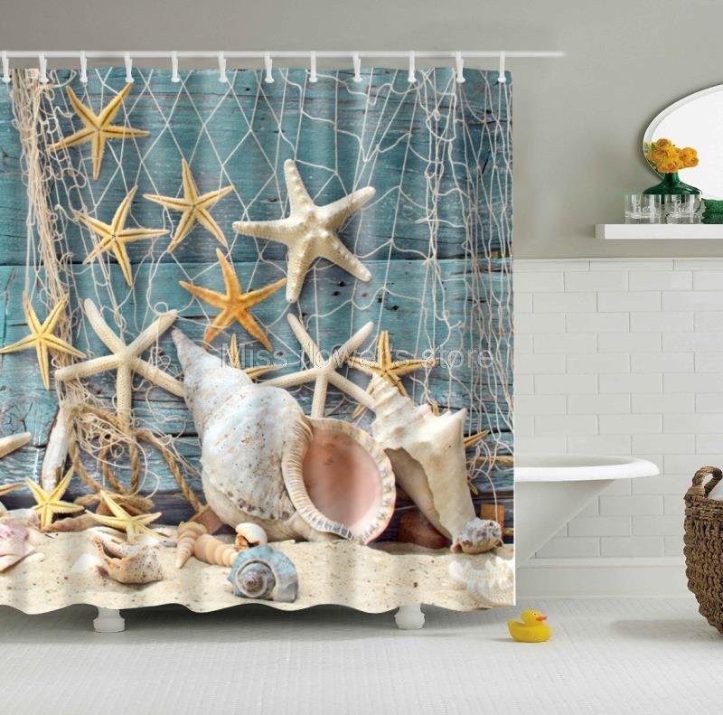 Cortina de ducha personalizada con diseño de estrella de mar y redes de pesca, cortina de baño impermeable a prueba de moho con 12 ganchos de varios tamaños
