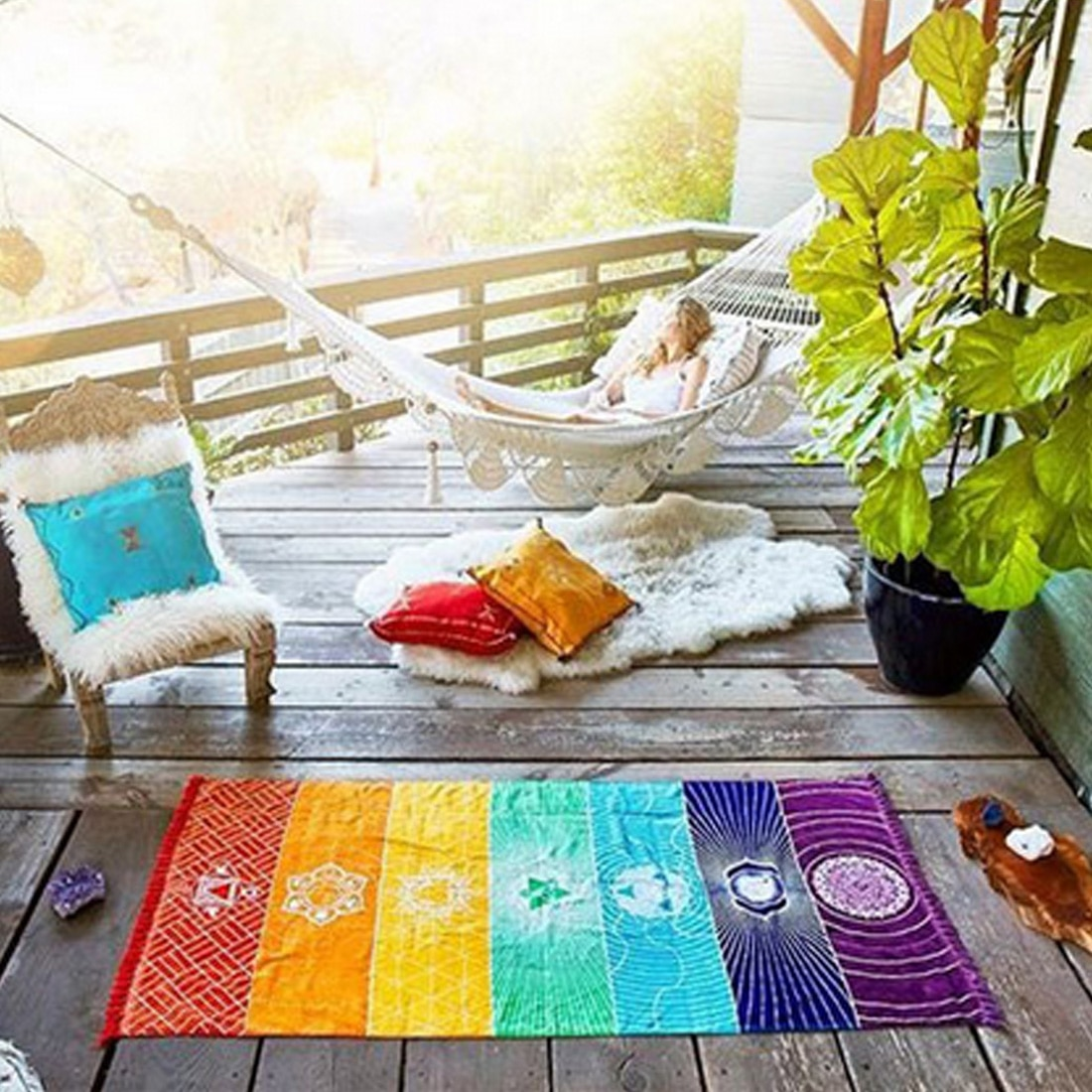 Хорошее полиэфирное богемное настенное индийское мандаловое одеяло 7 Чакр цветной гобелен радужные полосы дорожный пляжный коврик для йог...