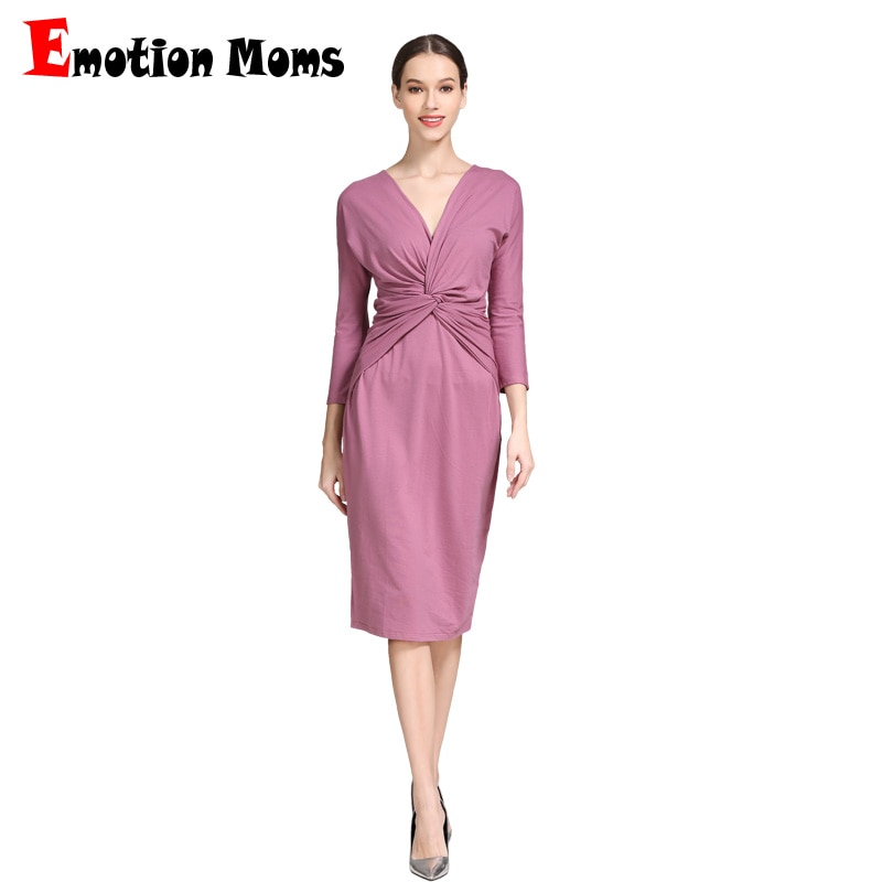 Emotion Moms Pregnant Clothing 3/4 Sleeve Stretch Cotton Maternity Breastfeeding Dresses Women Pregnancy Clothes Spring enlarge
