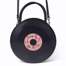 Bolso de Harajuku japonés disco redondo álbum lolita suave hermana bolso PU bolso de mujer bandolera de hombro lolita calle retro shoo