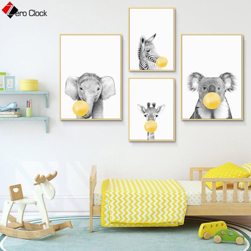 Zebra Elephant Giraffe Koala Canvas Painting Bubble Gum Poster Safari Animal Print Black and White Wall Art Baby Room Decor