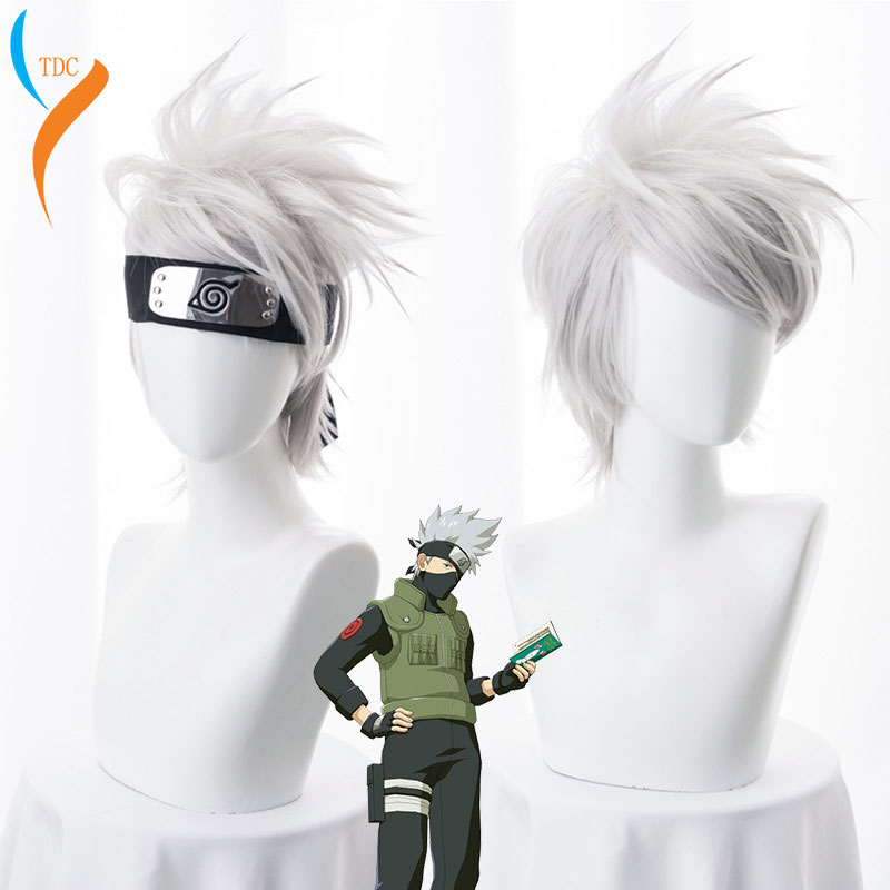 Anime NARUTO Hatake cosplay de Kakashi Peluca de plata blanca corta de pelo sintético resistente al calor pelucas + diadema + máscara