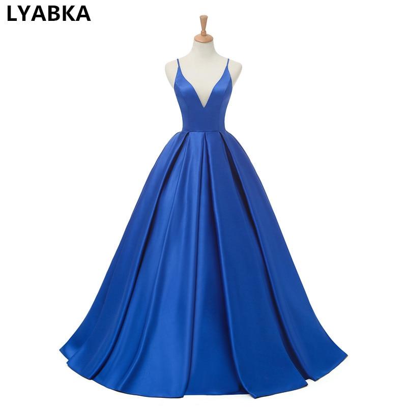 2019 Royal Blue Satin Abendkleider Lange Kleid V-ausschnitt Prom Reflektierende Kleid Aliexprss Abendkleid Open Back Robe De Soiree