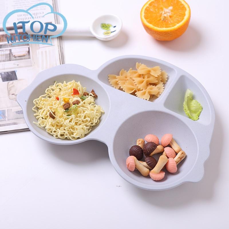 Bambus Faser Geschirr Cartoon Auto Platte kinder Geschirr Fach Fütterung Tablett Baby Geschenk Kinder Geschirr Platte