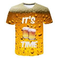 Été 2019 hommes marque o col horloge veste bière à manches courtes 3D imprimé T-shirt décontracté confortable veste hauts