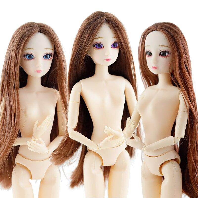 Muñecas BJD de 30cm a la moda 1/6 3D con ojos azules y morados cabeza femenina 20 muñeca desnuda articulada movible muñecas para niñas
