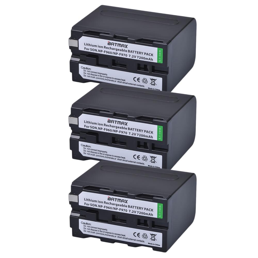 Batmax 3 uds NP-F970 F970 NPF970 NP-F960 batería recargable para Sony F975 F970 F960 F950MC1500C 190P 198P F950 MC1000C TR516
