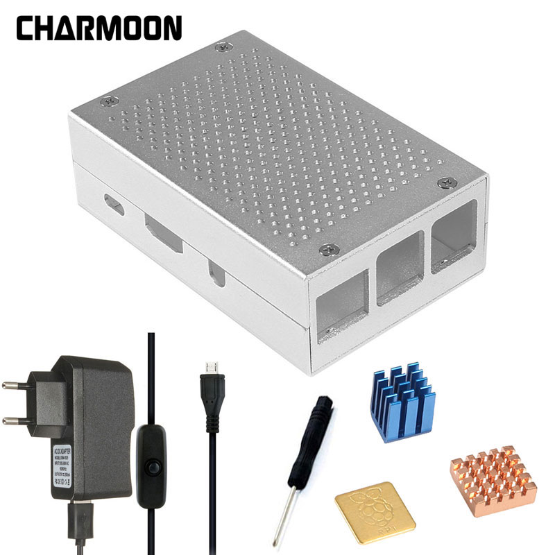 For Raspberry Pi 3 Aluminum Case Metal Case + Screws + Heat Sink Enclosure Kit For Raspberry Pi 3 Model B + New uk rs raspberry pi 3 kit russian spanish english mini keyboard 16g sd card 2 5a power supply case heat sink hdmi cable