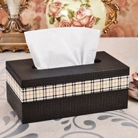 classic royal large rectangle rattan texture leather tissue box toilet paper storage pumping napkin holder case 420a