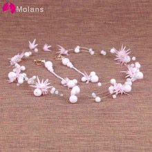 MOLANS un conjunto de cuentas rosadas taladro de agua joyería nupcial para la boda delicada diadema rosa con anillos de oreja tocado adorno para el cabello