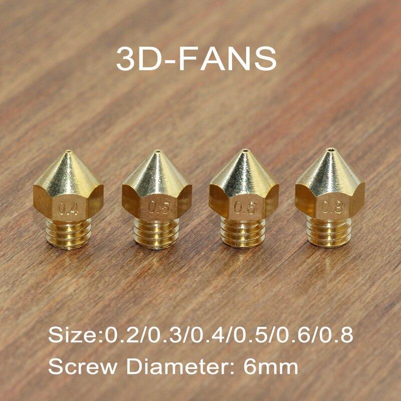 10 stks/partij Koperen Mondstuk Voor PRUSE-I3 Extruder Gemengde Maten 0.2/0.3/0.4/0.5/0.6/0.8mm 3D printer hoofd 1.75mm MK8 Makerbot