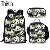 THIKIN Cute Cartoon Panda Printing School Bags for Kids 3pcs School Bag Set Children Shoulder Bookbag Girls School Backpack 2019