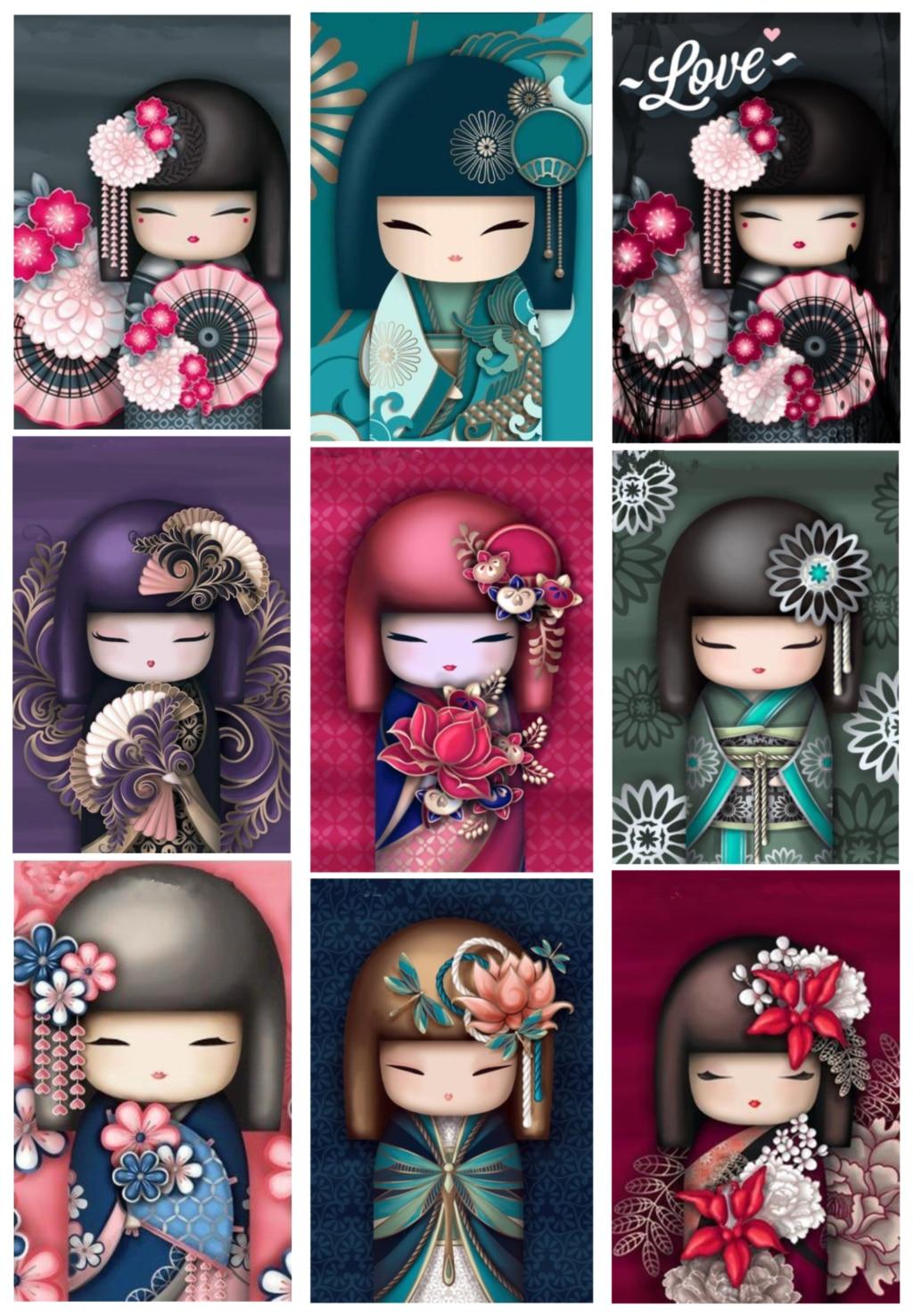 5D DIY pintura de diamantes Kimono muñecas mosaico de diamantes cuadro con dibujo bordado de diamantes de imitación kits de costura de regalo