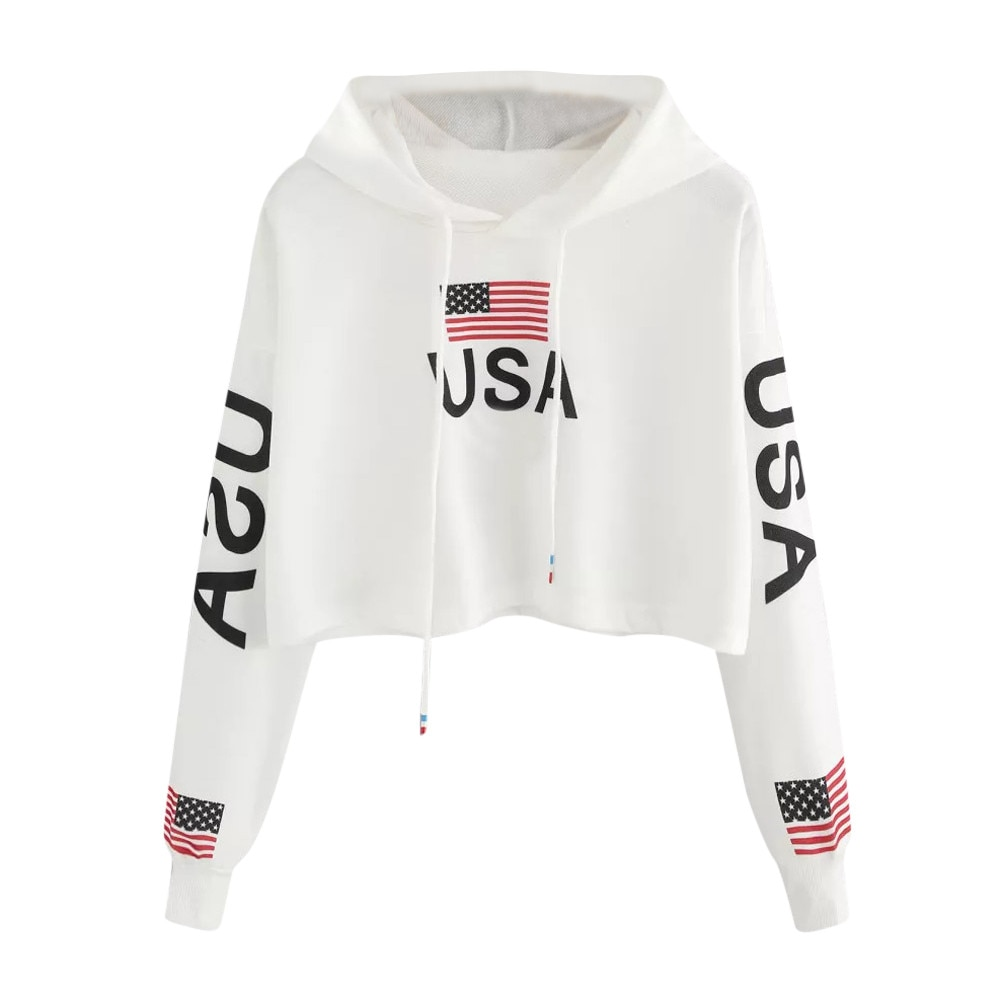 38 # Harajuku Hoodies Kawaii coreano recortado Hoodie mujeres Casual Drop Shoulder bandera americana imprimir Hoodie Top blusa