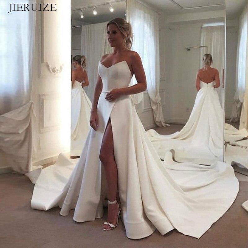 JIERUIZE الأبيض الحرير بسيط الزفاف فساتين الخامس الرقبة الجانب الشق عارية الذراعين العروس فساتين الزفاف أثواب رداء دي mariee