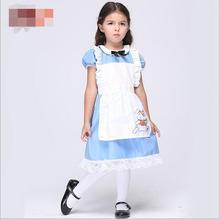 فستان حفلات أزرق بشكل شخصية أليس في بلاد العجائب فاخر للبنات الصغار مناسب للهالوين من pp مجاني