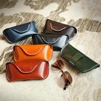 new eyeglasses bag vintage fashion genuine leather material buckle eyeglasses box sunglasses for men women black brown br5114