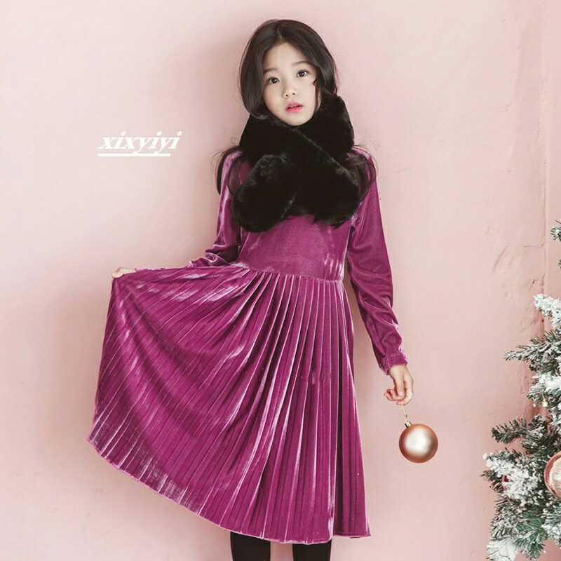 فتاة المخملية الأرجواني فستان الشتاء حفلة عيد الميلاد أنيقة طويلة الأكمام فساتين 6 7 8 9 10 12 سنوات