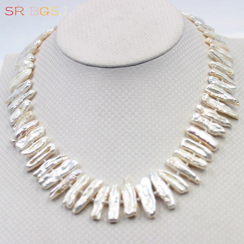"""Kostenloser Versand 6x24mm Weiß Rosa Lila Reborn Biwa Süßwasser Perle Perlen Knoten Halskette Silber Frauen Kurze Halskette 18"""""""