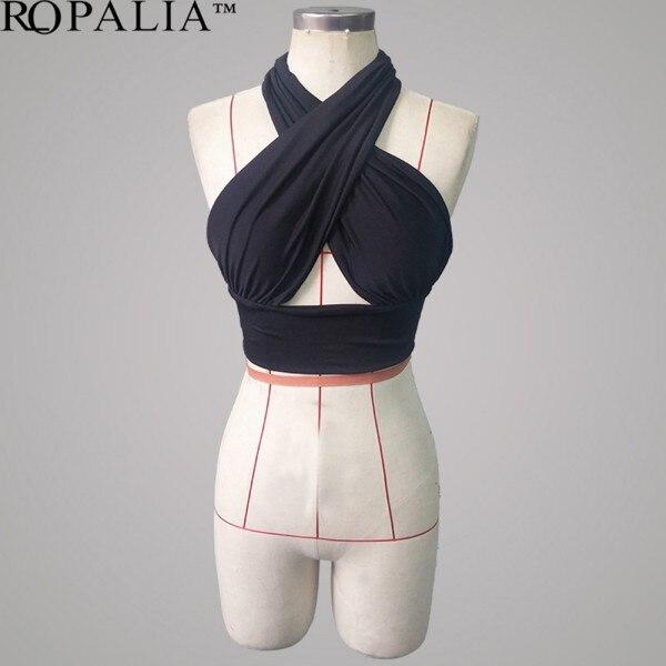 Women Sexy Strapless Bustier Cross Bandage Bikini Bra Vest Corselet Tops T-shirt