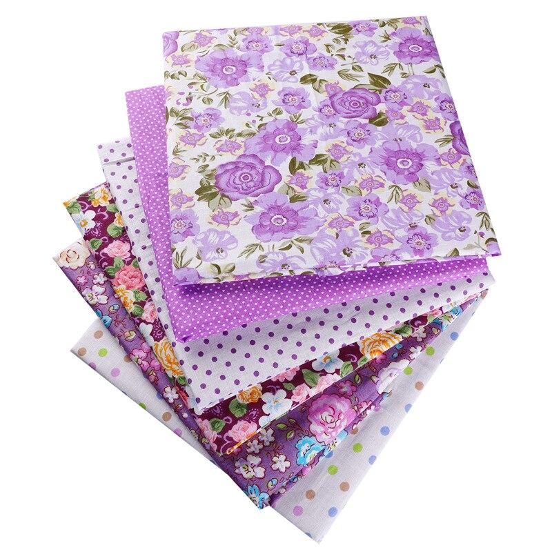 Tela púrpura de los puntos de las flores del algodón de La 100% 50X50cm para la ropa del remiendo de la muñeca costura con aguja textil del hogar 53122