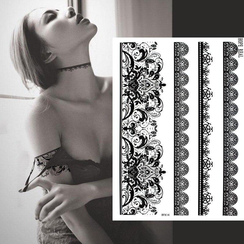 1 blatt schwarz spitze Henna Tattoo Aufkleber Nagel Blume feder Spitze Temporäre Tattoo Body Art Arm HandTatuagem Große Größe Machen up