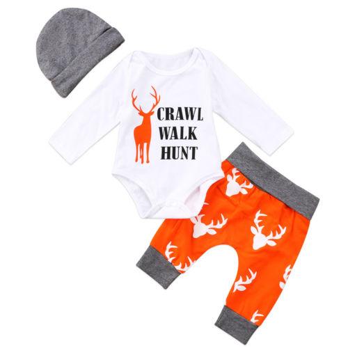 New 3Pcs Newborn Baby Boys Girls Christmas Clothes CRAWL WALK HUNT Romper+Deer Pants+Hats Caps Xmas Elk Outfits Toddler Baby Set