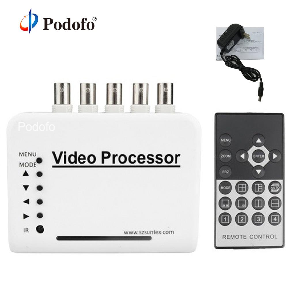 Podofo-محول كاميرا 4 قنوات مع جهاز تحكم عن بعد ومحول 5 BNC ، محول فيديو ملون ، فاصل رباعي ، طقم معالج